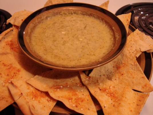 tasty Pita Chips and Broccoli soup