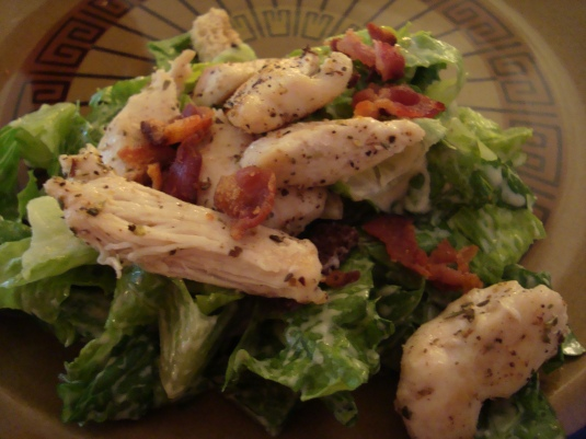 Close up of the delicious Chicken and Bacon Caesar Salad with our homemade Dressing