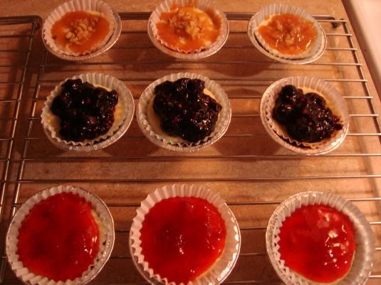 Pretty Carmel-Walnut, Strawberry and Blueberry Glaze Mini Cheesecakes