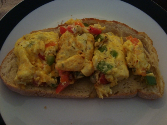 Cheesy Egg Sandwich with Red&Green Peppers and Tomato!