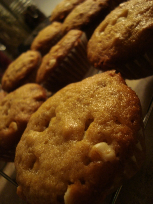 White Chocolate, Walnut, Banana Muffins