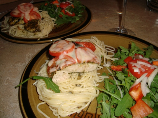 Yummy pesto Chicken pasta dinner <3
