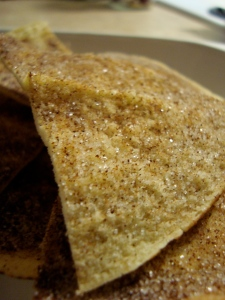Yummy oven baked cinnamon and sugar pita chips