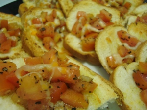 Roastd garlic, balsamic bruschetta
